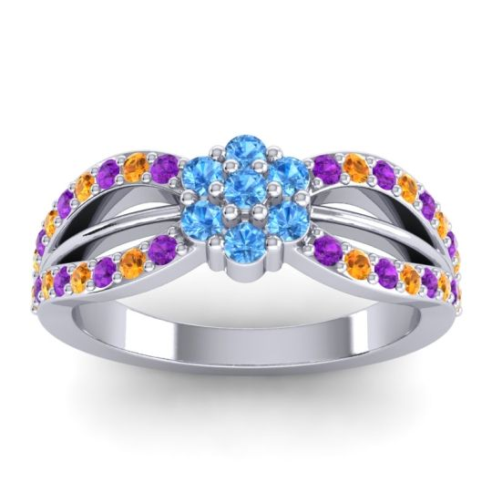 Simple Floral Pave Kalikda Swiss Blue Topaz Ring with Citrine and Amethyst in 14k White Gold