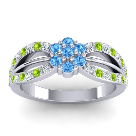 Simple Floral Pave Kalikda Swiss Blue Topaz Ring with Peridot and Diamond in 18k White Gold