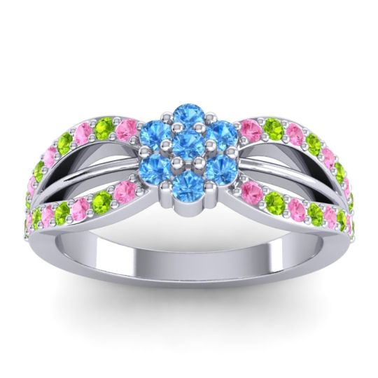 Simple Floral Pave Kalikda Swiss Blue Topaz Ring with Peridot and Pink Tourmaline in 18k White Gold