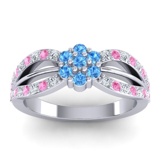 Simple Floral Pave Kalikda Swiss Blue Topaz Ring with Pink Tourmaline and Diamond in 14k White Gold