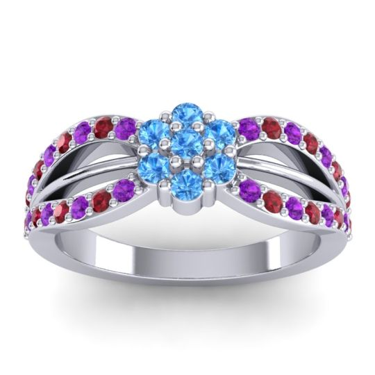 Simple Floral Pave Kalikda Swiss Blue Topaz Ring with Ruby and Amethyst in Platinum