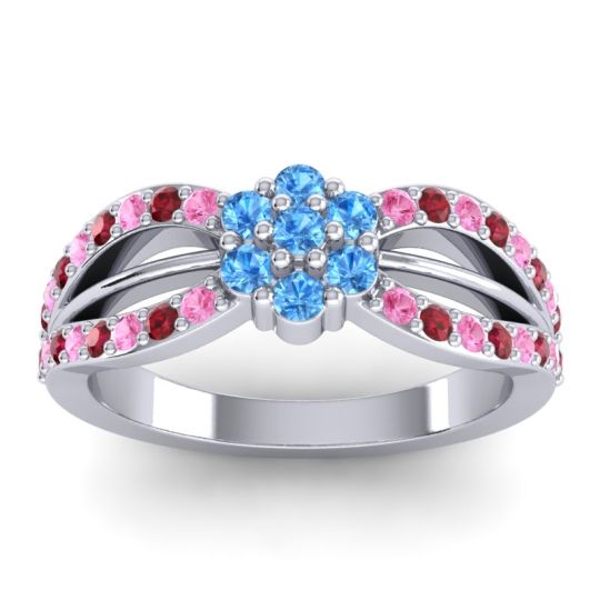 Simple Floral Pave Kalikda Swiss Blue Topaz Ring with Ruby and Pink Tourmaline in Palladium