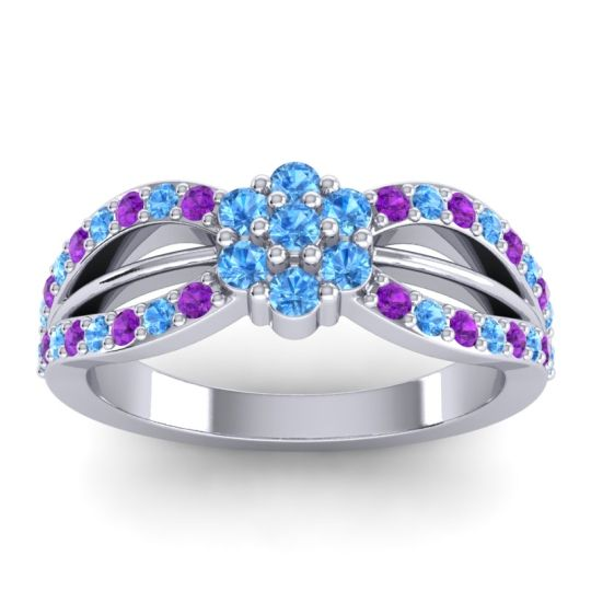 Simple Floral Pave Kalikda Swiss Blue Topaz Ring with Amethyst in Platinum