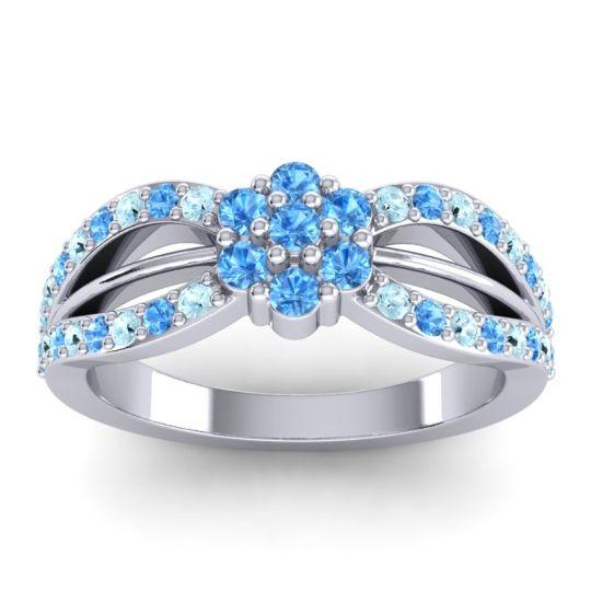 Simple Floral Pave Kalikda Swiss Blue Topaz Ring with Aquamarine in Palladium