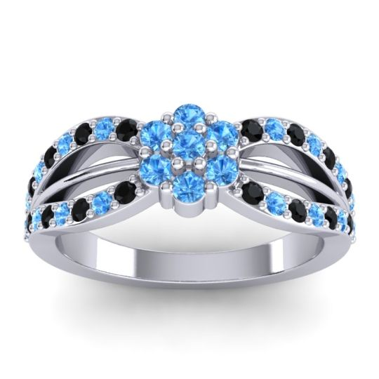 Simple Floral Pave Kalikda Swiss Blue Topaz Ring with Black Onyx in Palladium