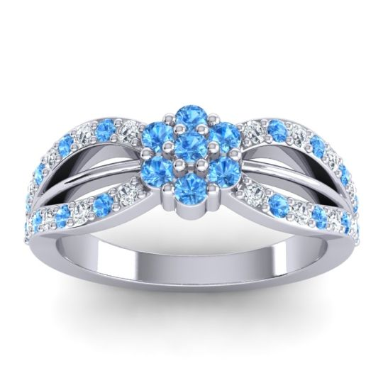 Simple Floral Pave Kalikda Swiss Blue Topaz Ring with Diamond in 18k White Gold