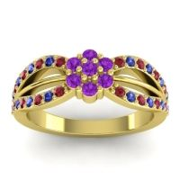 Simple Floral Pave Kalikda Amethyst Ring with Blue Sapphire and Ruby in 18k Yellow Gold