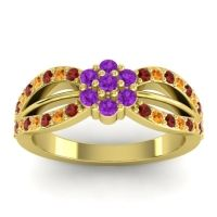 Simple Floral Pave Kalikda Amethyst Ring with Citrine and Garnet in 14k Yellow Gold