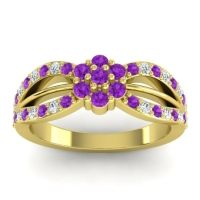 Simple Floral Pave Kalikda Amethyst Ring with Diamond in 14k Yellow Gold