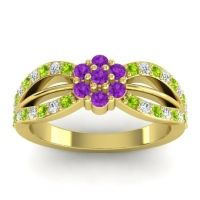 Simple Floral Pave Kalikda Amethyst Ring with Diamond and Peridot in 14k Yellow Gold