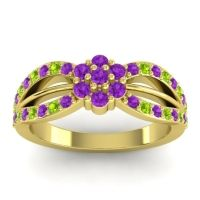Simple Floral Pave Kalikda Amethyst Ring with Peridot in 18k Yellow Gold