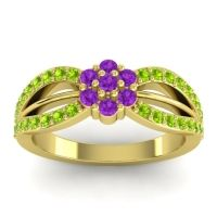 Simple Floral Pave Kalikda Amethyst Ring with Peridot in 14k Yellow Gold