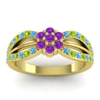Simple Floral Pave Kalikda Amethyst Ring with Peridot and Swiss Blue Topaz in 18k Yellow Gold