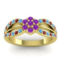 Simple Floral Pave Kalikda Amethyst Ring with Ruby and Swiss Blue Topaz in 14k Yellow Gold