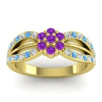 Simple Floral Pave Kalikda Amethyst Ring with Swiss Blue Topaz and Diamond in 14k Yellow Gold
