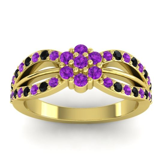 Simple Floral Pave Kalikda Amethyst Ring with Black Onyx in 14k Yellow Gold