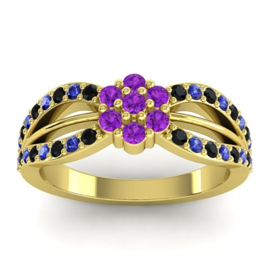 Simple Floral Pave Kalikda Amethyst Ring with Blue Sapphire and Black Onyx in 18k Yellow Gold