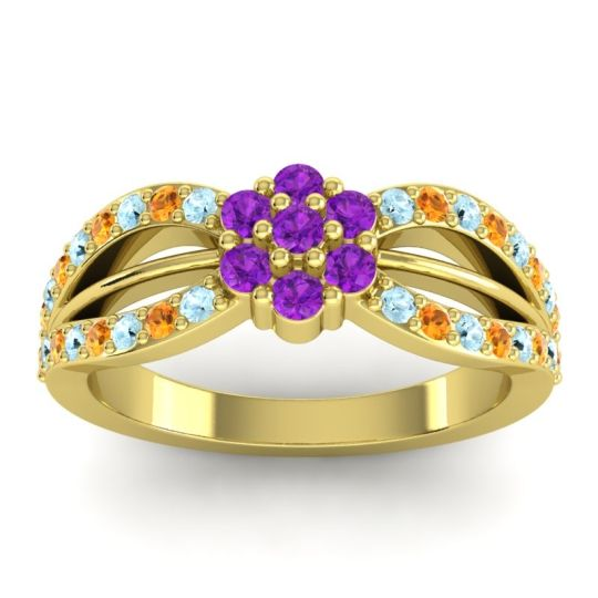 Simple Floral Pave Kalikda Amethyst Ring with Citrine and Aquamarine in 18k Yellow Gold