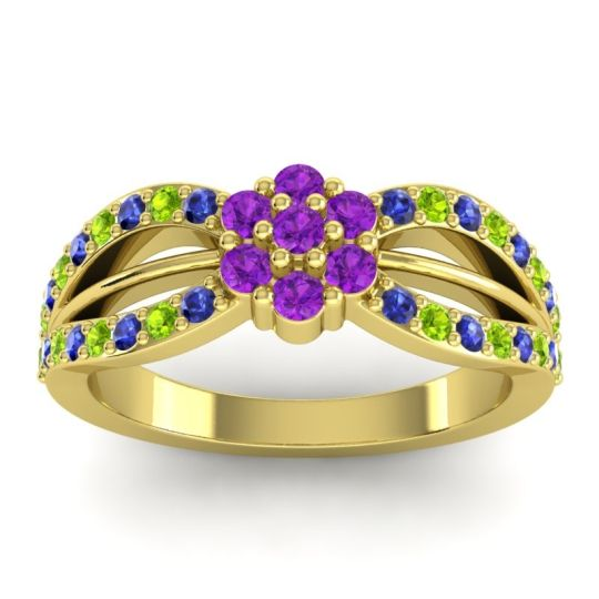 Simple Floral Pave Kalikda Amethyst Ring with Peridot and Blue Sapphire in 18k Yellow Gold
