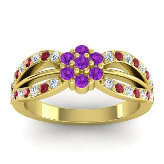 Simple Floral Pave Kalikda Amethyst Ring with Ruby and Diamond in 14k Yellow Gold
