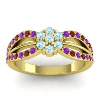 Simple Floral Pave Kalikda Aquamarine Ring with Garnet and Amethyst in 18k Yellow Gold