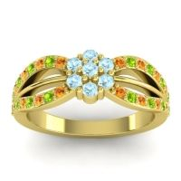 Simple Floral Pave Kalikda Aquamarine Ring with Peridot and Citrine in 18k Yellow Gold