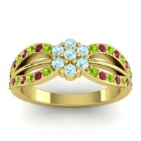 Simple Floral Pave Kalikda Aquamarine Ring with Ruby and Peridot in 18k Yellow Gold
