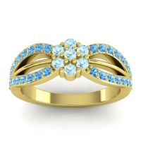 Simple Floral Pave Kalikda Aquamarine Ring with Swiss Blue Topaz in 18k Yellow Gold