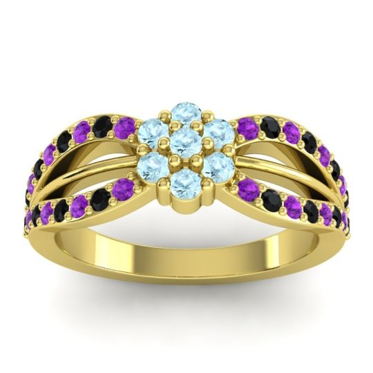 Simple Floral Pave Kalikda Aquamarine Ring with Black Onyx and Amethyst in 18k Yellow Gold