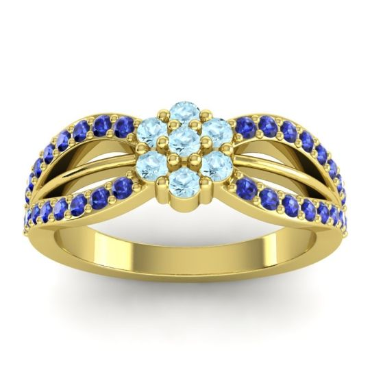 Simple Floral Pave Kalikda Aquamarine Ring with Blue Sapphire in 14k Yellow Gold