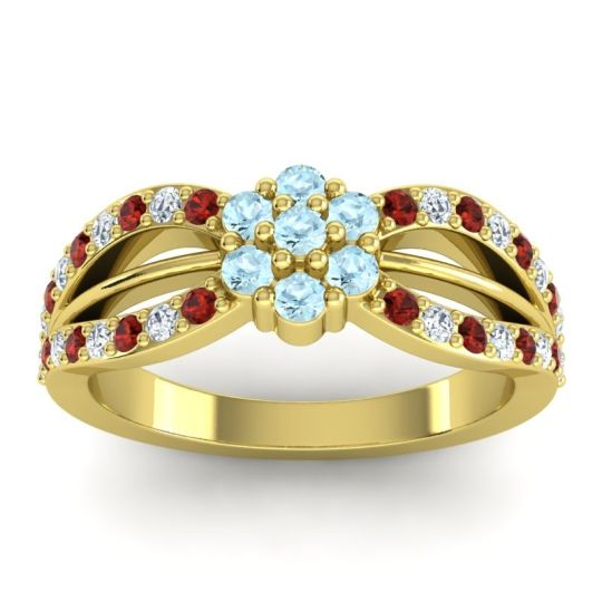 Simple Floral Pave Kalikda Aquamarine Ring with Diamond and Garnet in 14k Yellow Gold