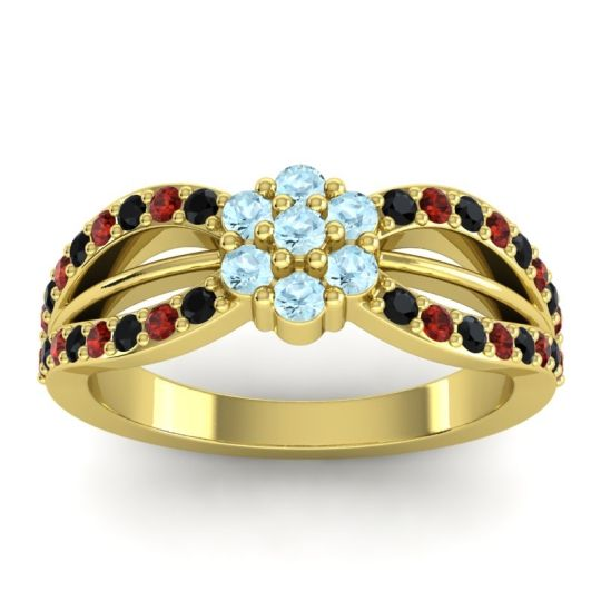 Simple Floral Pave Kalikda Aquamarine Ring with Garnet and Black Onyx in 14k Yellow Gold