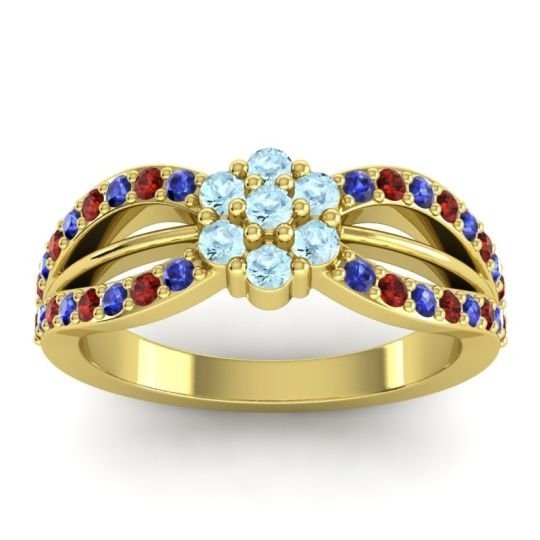 Simple Floral Pave Kalikda Aquamarine Ring with Garnet and Blue Sapphire in 14k Yellow Gold