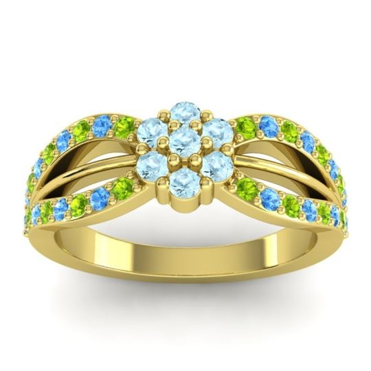 Simple Floral Pave Kalikda Aquamarine Ring with Swiss Blue Topaz and Peridot in 18k Yellow Gold