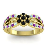 Simple Floral Pave Kalikda Black Onyx Ring with Amethyst and Aquamarine in 14k Yellow Gold