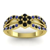 Simple Floral Pave Kalikda Black Onyx Ring with Blue Sapphire in 14k Yellow Gold