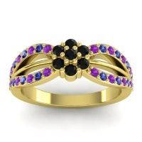 Simple Floral Pave Kalikda Black Onyx Ring with Blue Sapphire and Amethyst in 18k Yellow Gold