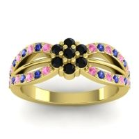 Simple Floral Pave Kalikda Black Onyx Ring with Blue Sapphire and Pink Tourmaline in 18k Yellow Gold