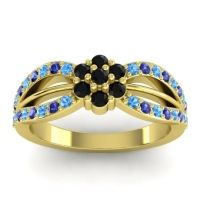 Simple Floral Pave Kalikda Black Onyx Ring with Blue Sapphire and Swiss Blue Topaz in 18k Yellow Gold