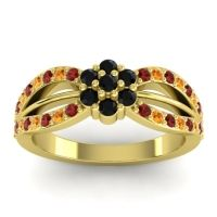 Simple Floral Pave Kalikda Black Onyx Ring with Citrine and Garnet in 18k Yellow Gold