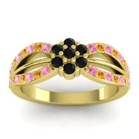 Simple Floral Pave Kalikda Black Onyx Ring with Citrine and Pink Tourmaline in 18k Yellow Gold