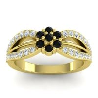 Simple Floral Pave Kalikda Black Onyx Ring with Diamond in 18k Yellow Gold