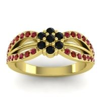 Simple Floral Pave Kalikda Black Onyx Ring with Garnet and Ruby in 18k Yellow Gold