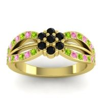 Simple Floral Pave Kalikda Black Onyx Ring with Pink Tourmaline and Peridot in 14k Yellow Gold