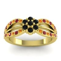 Simple Floral Pave Kalikda Black Onyx Ring with Ruby and Citrine in 18k Yellow Gold