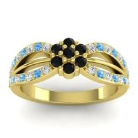 Simple Floral Pave Kalikda Black Onyx Ring with Swiss Blue Topaz and Diamond in 14k Yellow Gold