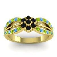 Simple Floral Pave Kalikda Black Onyx Ring with Swiss Blue Topaz and Peridot in 14k Yellow Gold
