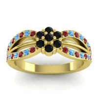 Simple Floral Pave Kalikda Black Onyx Ring with Swiss Blue Topaz and Ruby in 18k Yellow Gold