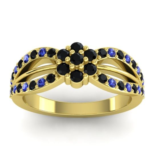 Simple Floral Pave Kalikda Black Onyx Ring with Blue Sapphire in 18k Yellow Gold