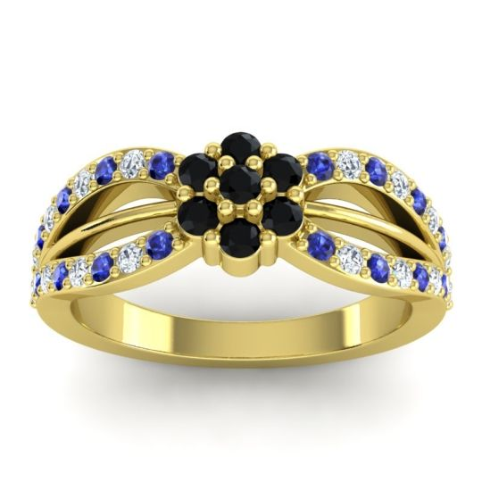 Simple Floral Pave Kalikda Black Onyx Ring with Diamond and Blue Sapphire in 18k Yellow Gold